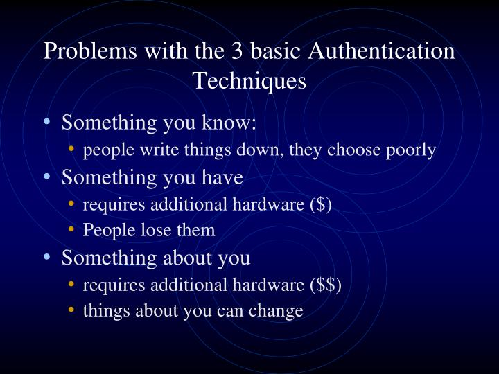 Problems with the 3 basic Authentication Techniques