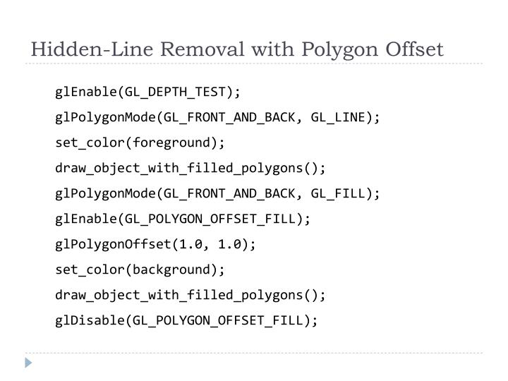 Hidden-Line Removal with Polygon Offset