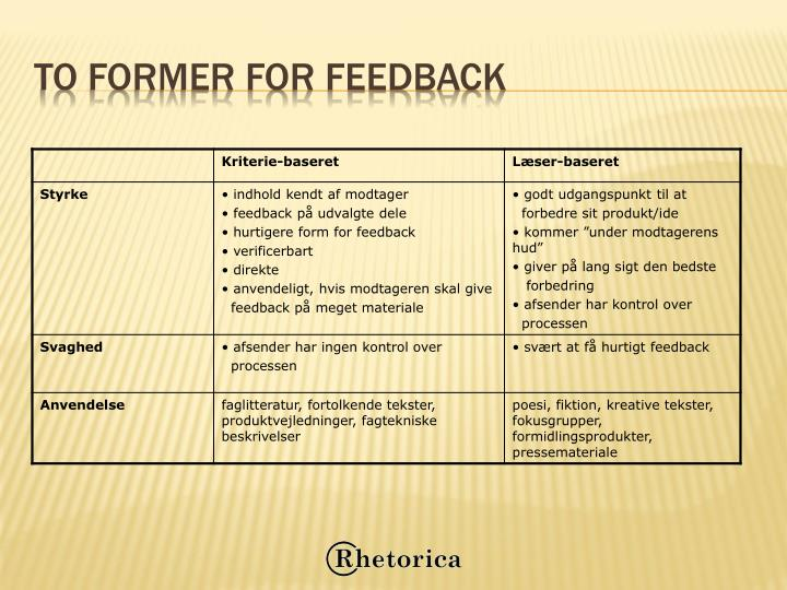 To former for feedback