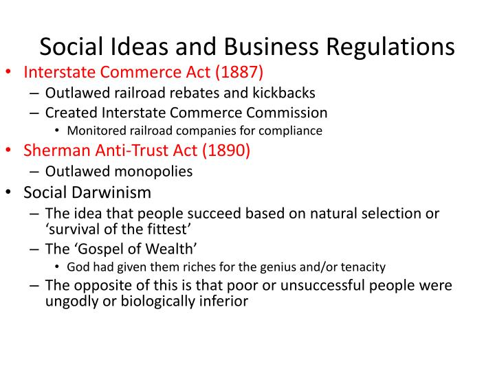 Social Ideas and Business Regulations