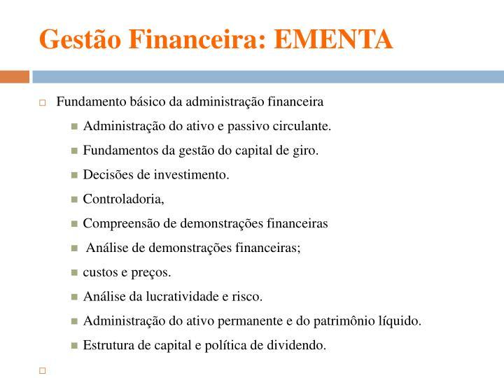 Gest o financeira ementa