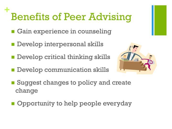 Benefits of peer advising