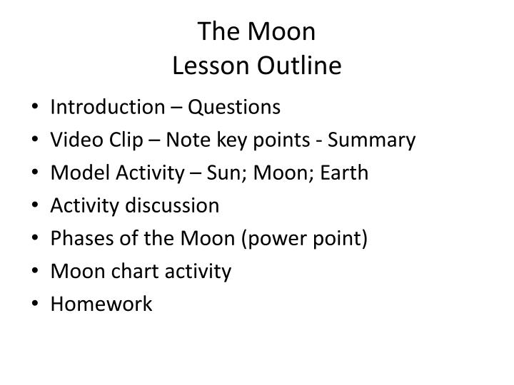 the moon lesson outline n.