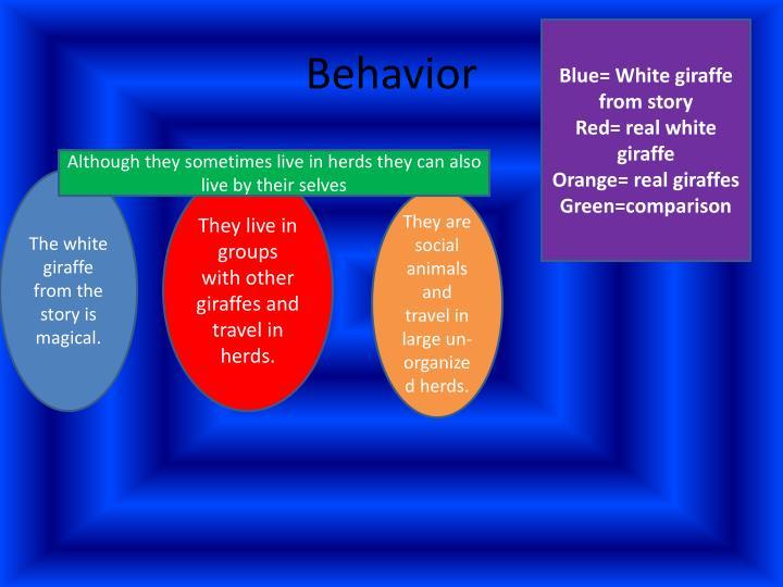 Blue= White giraffe from story