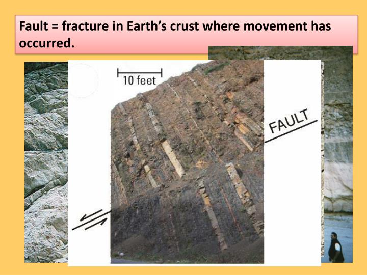 Fault = fracture in Earth's crust where movement has occurred.