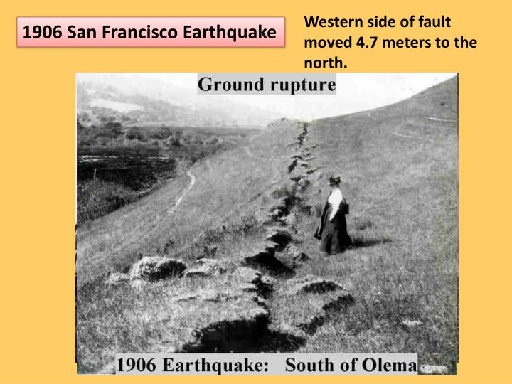 Western side of fault moved 4.7 meters to the north.