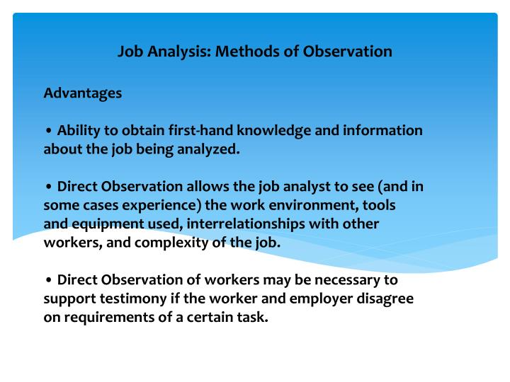 advantages of job analysis