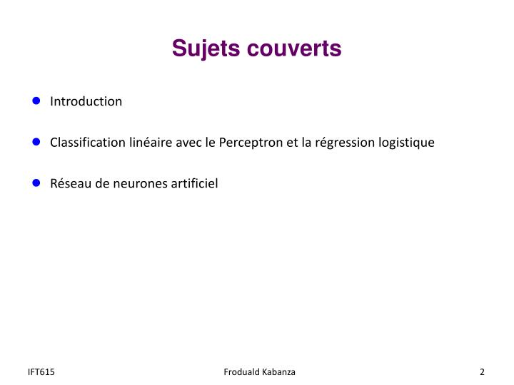 Sujets couverts