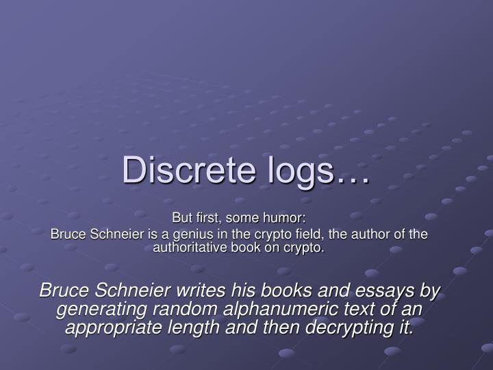 Discrete logs