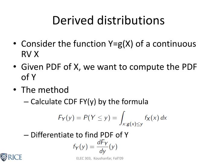 Derived distributions