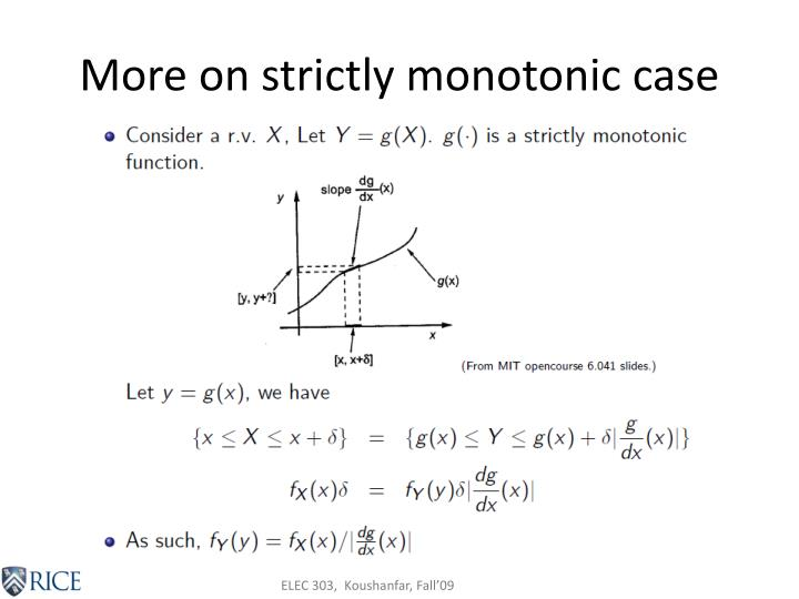 More on strictly monotonic case