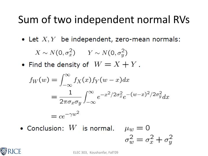 Sum of two independent normal RVs