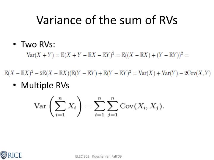 Variance of the sum of RVs