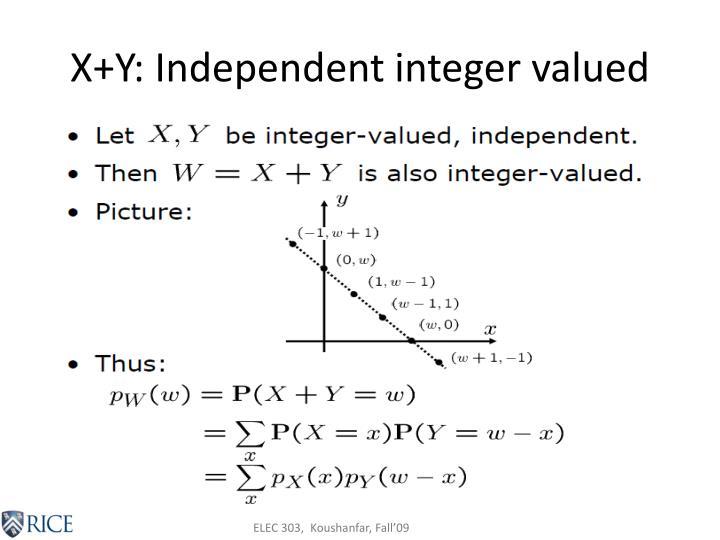 X+Y: Independent integer valued