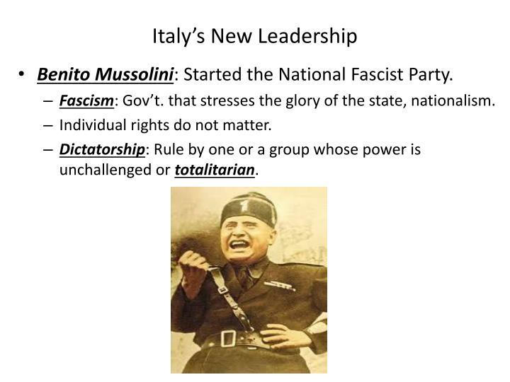Italy's New Leadership