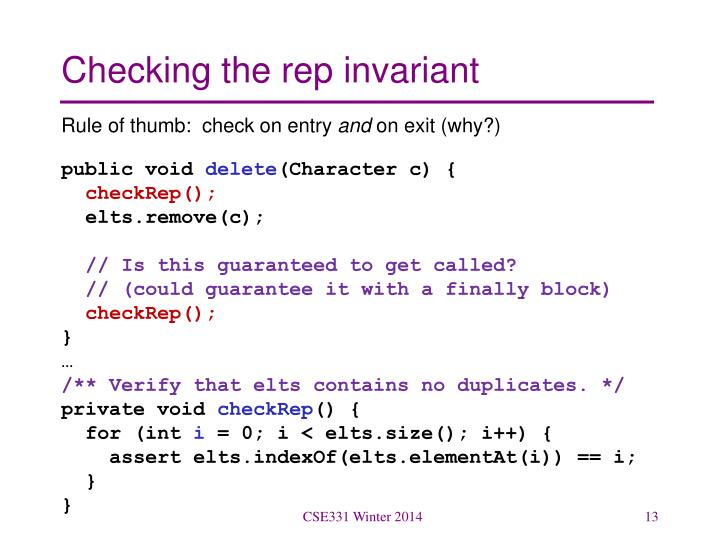 Checking the rep invariant