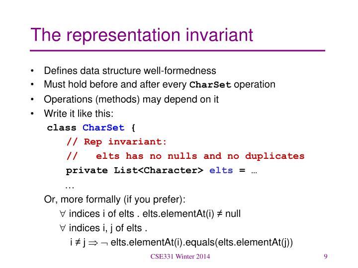 The representation invariant