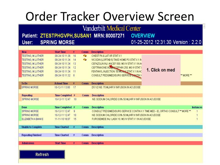 Order tracker overview screen