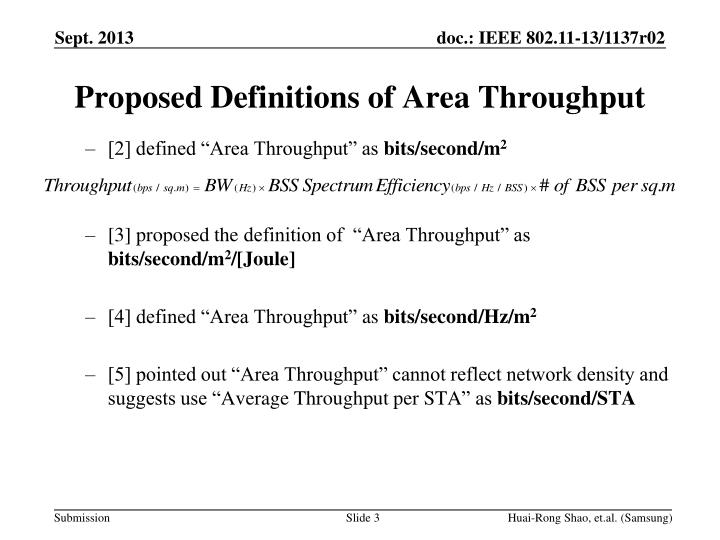 Proposed definitions of area throughput