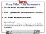 many titles one framework