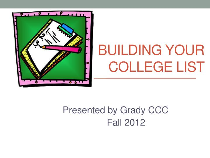 building your college list n.