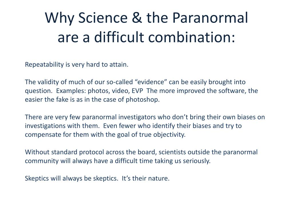 PPT - Science & the Paranormal Part 2 The Results PowerPoint