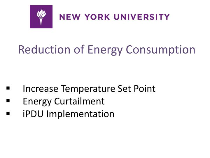 Reduction of Energy Consumption