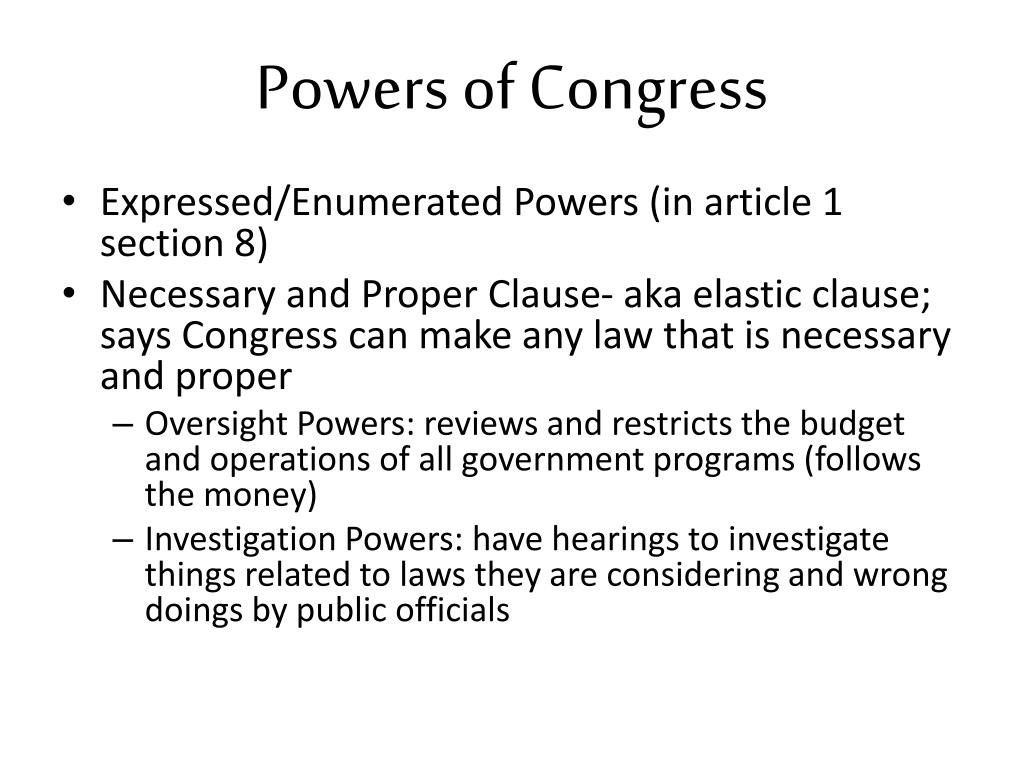 PPT - Powers of Congress PowerPoint Presentation - ID:2927477