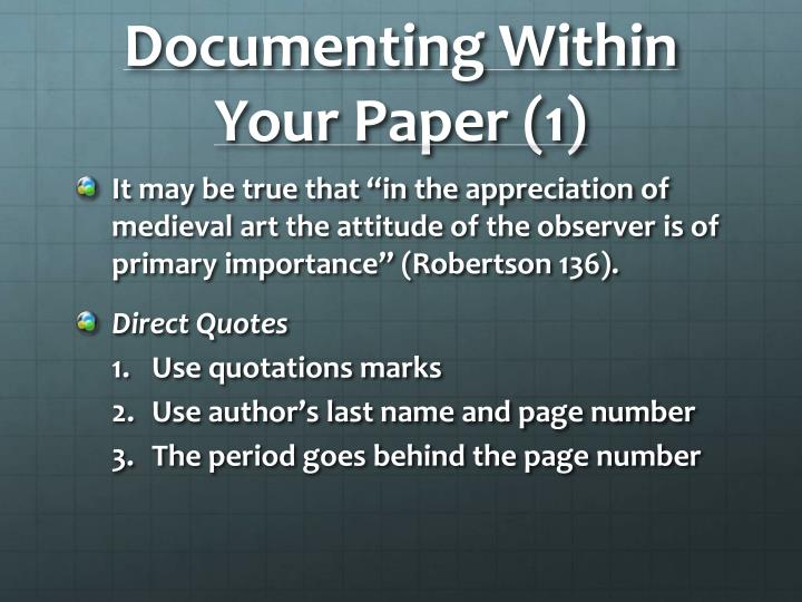 Documenting Within Your Paper (1)