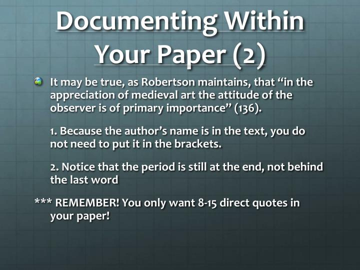 Documenting Within Your Paper (2)