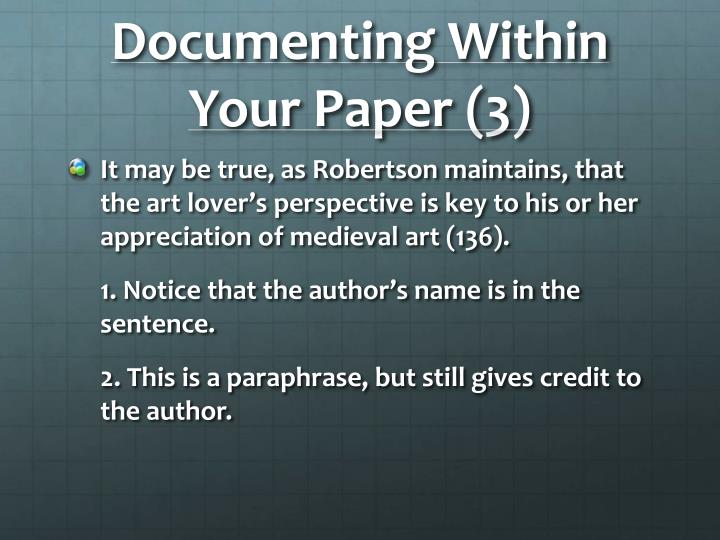 Documenting Within Your Paper (3)
