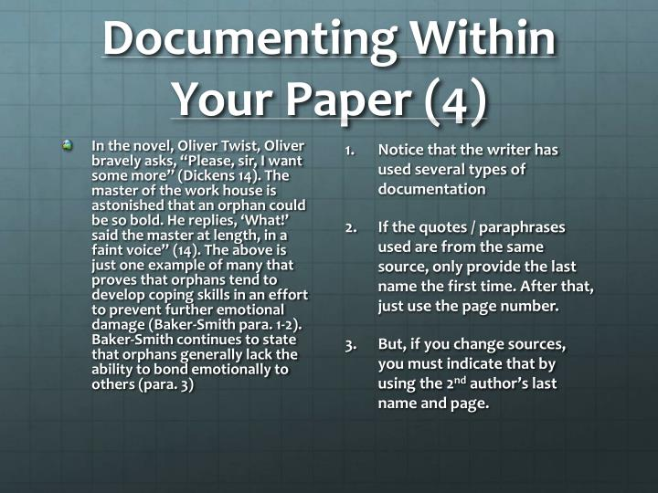 Documenting Within Your Paper (4)