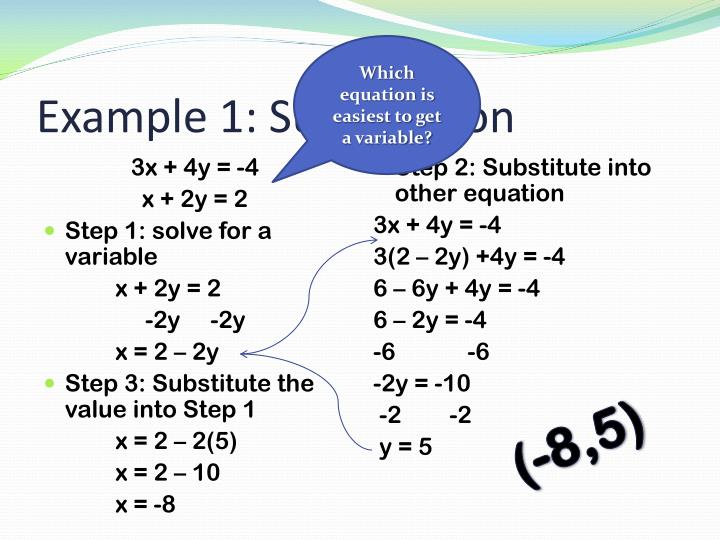 Example 1 substitution