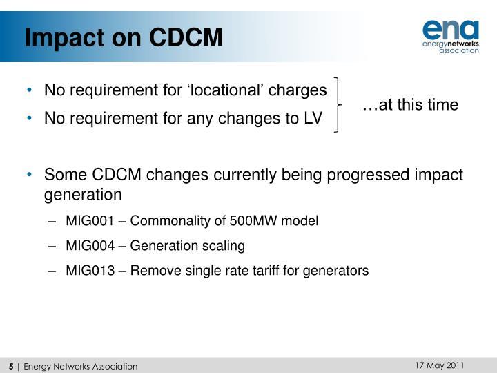Impact on CDCM