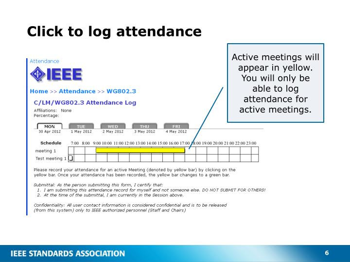Click to log attendance