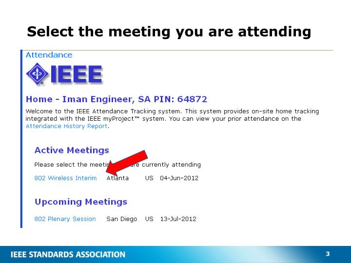 Select the meeting you are attending