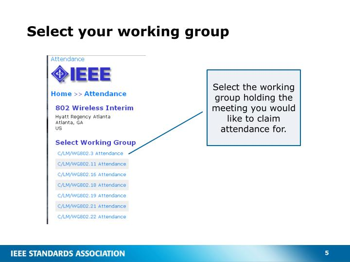 Select your working group