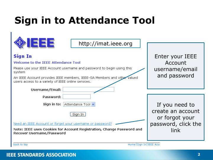 Sign in to attendance tool