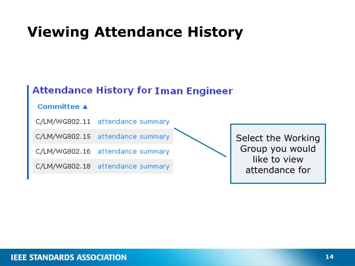 Viewing Attendance History