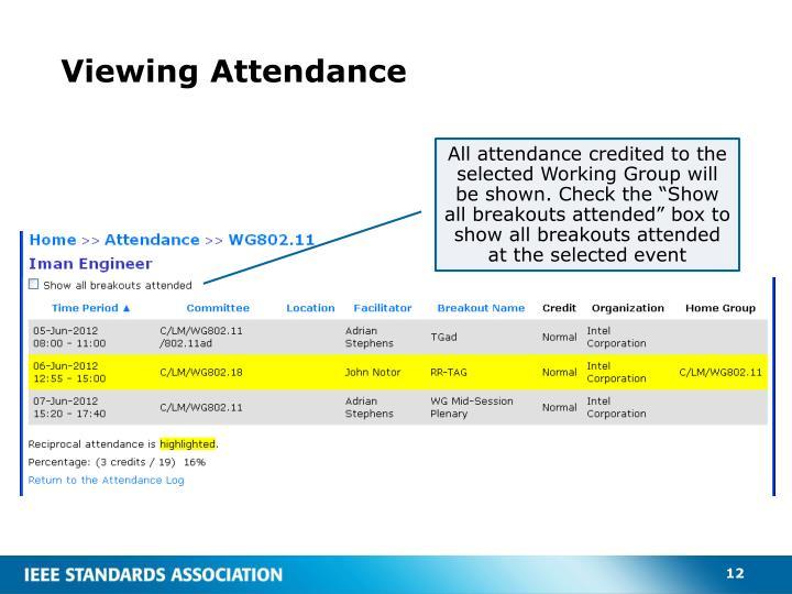 Viewing Attendance