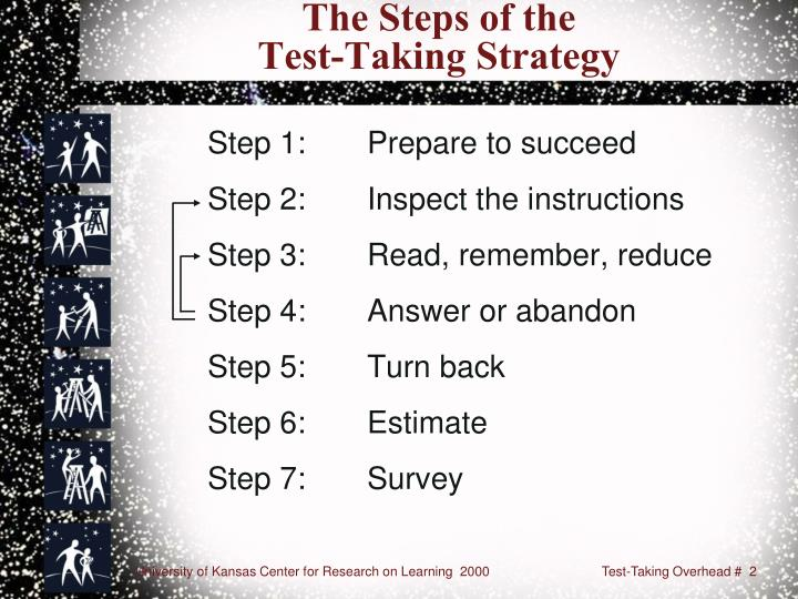 The steps of the test taking strategy