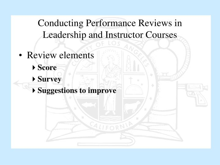 Conducting Performance Reviews in Leadership and Instructor Courses