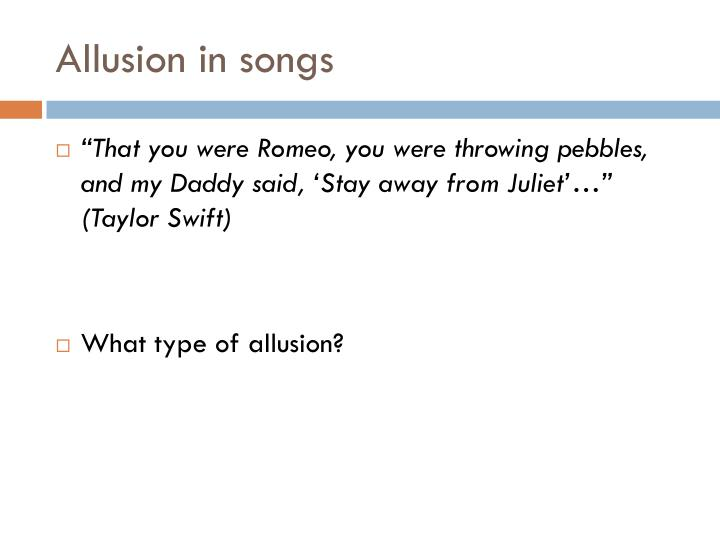 Allusion in songs