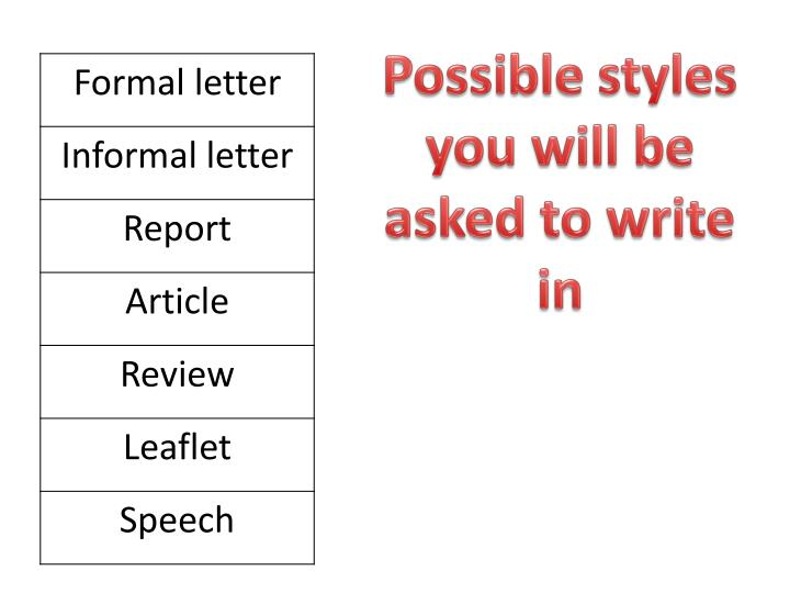 Possible styles you will be asked to write in