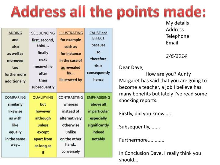 Address all the points made: