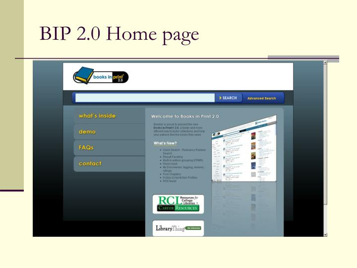 BIP 2.0 Home page