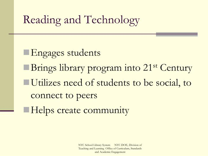 Reading and Technology