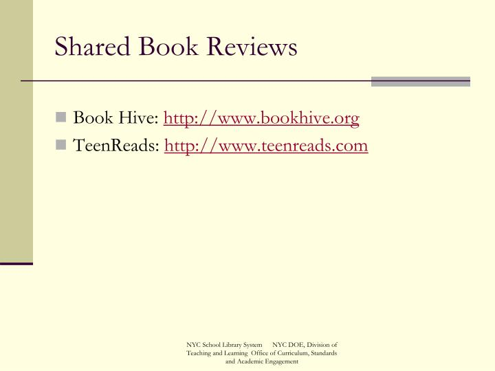 Shared Book Reviews