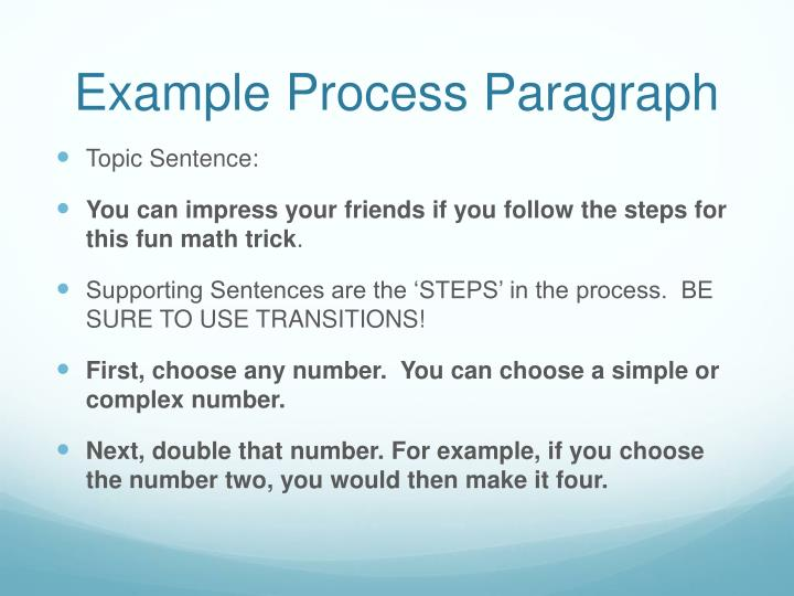 example paragraph of process