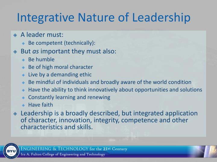 Integrative nature of leadership
